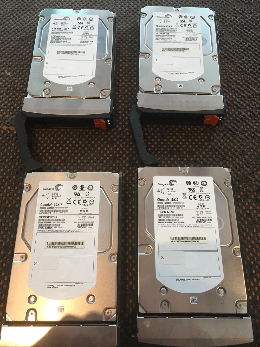 4 x SAS ST3300657SS 300GB DRIVES