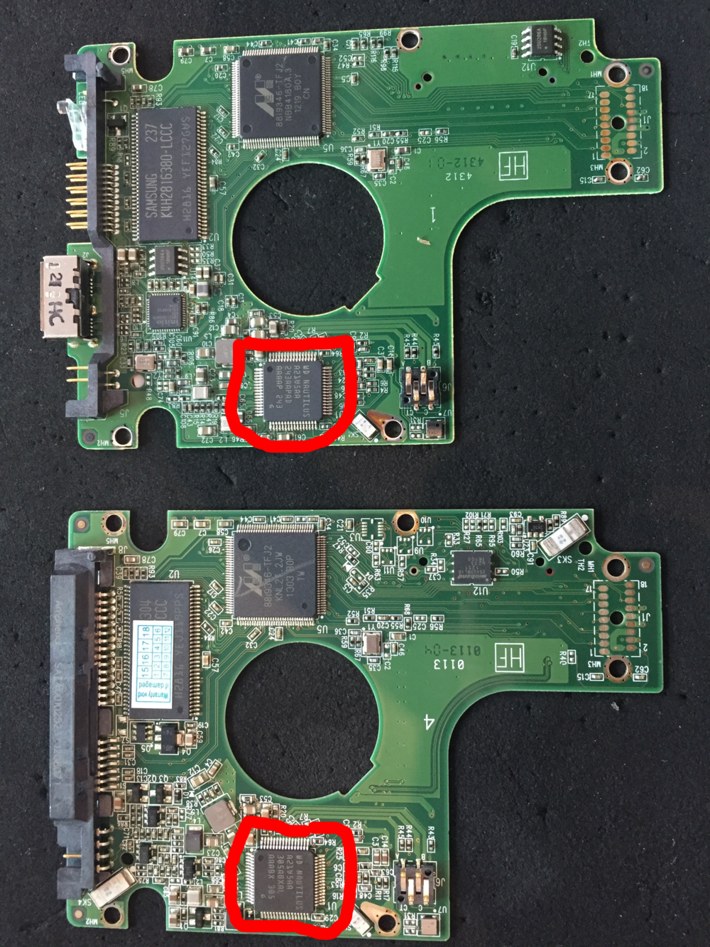 To do real professional data recovery on a WD Passport you need to convert to SATA, to do this we need to swap the rom information from the USB3 PCB to the SATA equivalent. This is a Nautilus Chip with a 256k U12 Rom