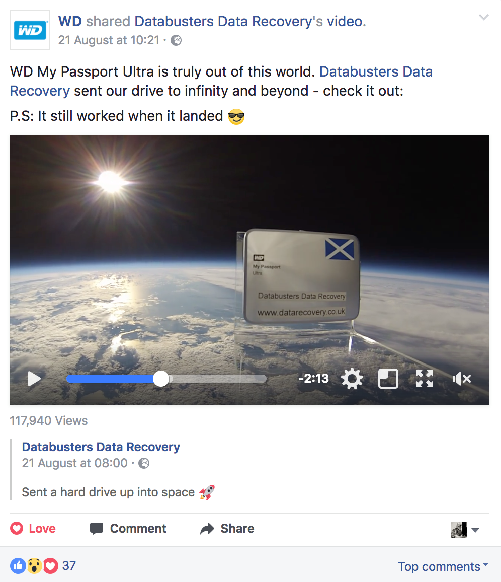 western digital facebook post