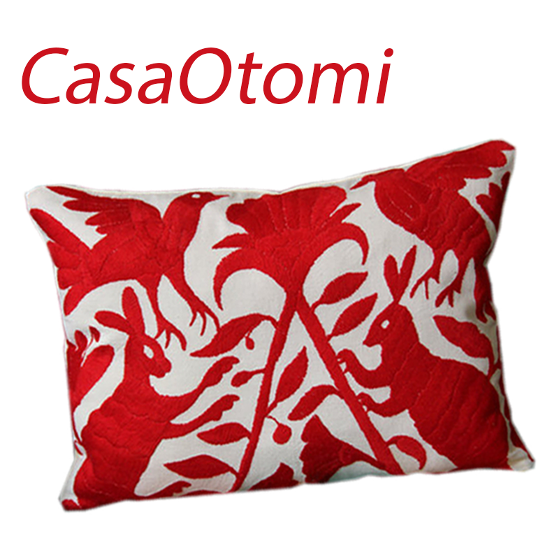 Purchase this adorable 11.5 x 15.5 inch. Otomi red sham at CasaOtomi.