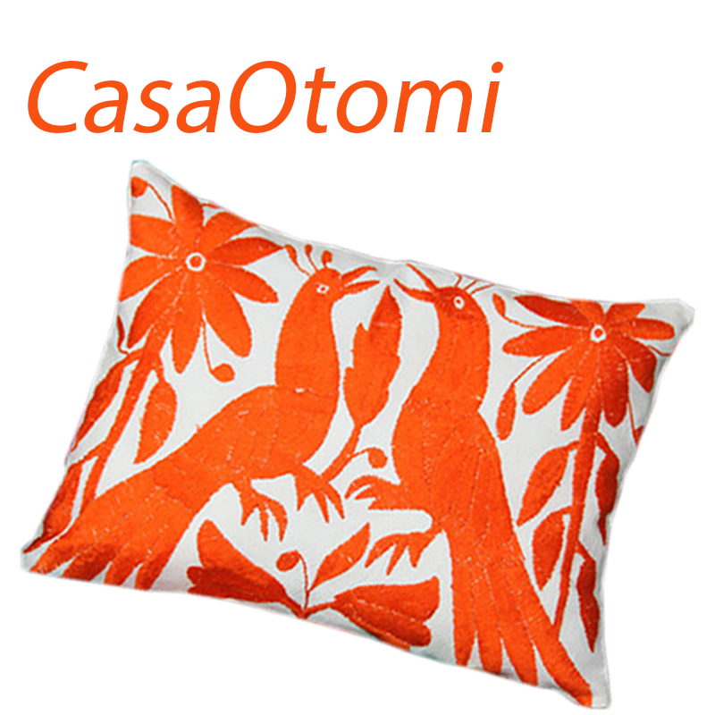 Purchase this adorable 11 x 15.5 inch. Otomi orange sham at CasaOtomi.