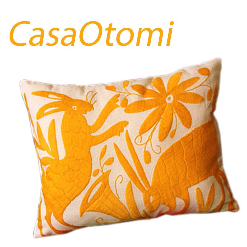 Purchase this adorable Otomi yellow sham at CasaOtomi.