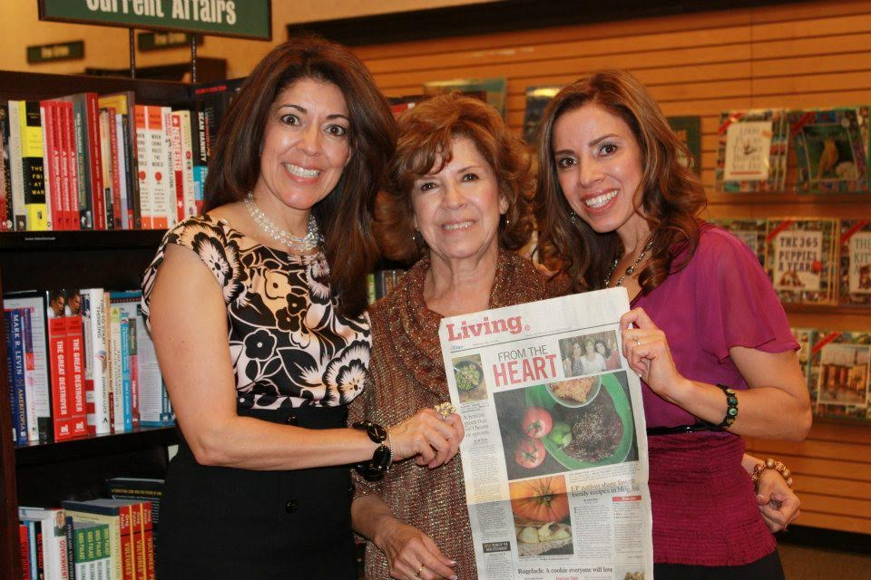 Yvette's sister Veronica Gonzalez-Smith (l), Yvette's mom Evangelina Soza, Yvette Marquez-Sharpnack (r) at a hometown book signing in El Paso, Texas. (Photo Courtesy: MuyBuenoCookbook.com)