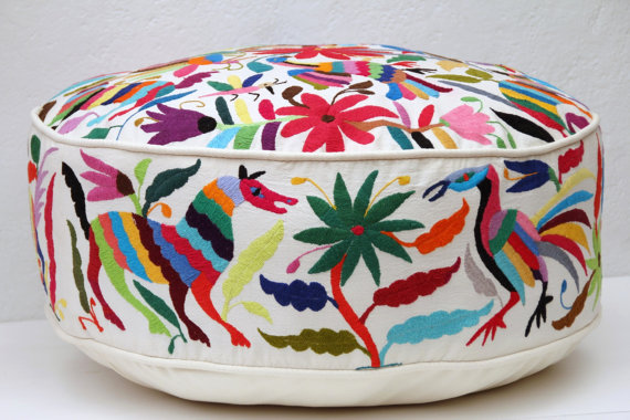Casa Otomi Round Multi-Colored Pouf // $424.00