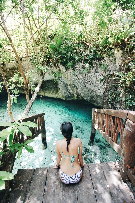 Pictured: Natalie in Gran Cenote, Tulum.