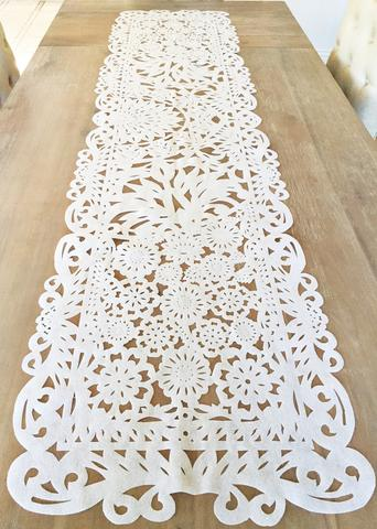 MesaChic White Fabric Table Runner in Papel Picado // $24.95