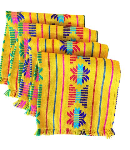 MesaChic Woven Mexican Napkins, Set of 4,  Tribal Colorful Yellow // $18.95