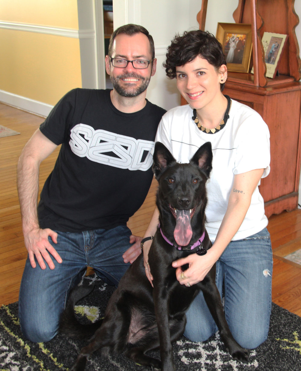 Angelique, (r),  her husband Randall (l), and her dog Toast (c).  (Photo Courtesy: Angelique Sloan)