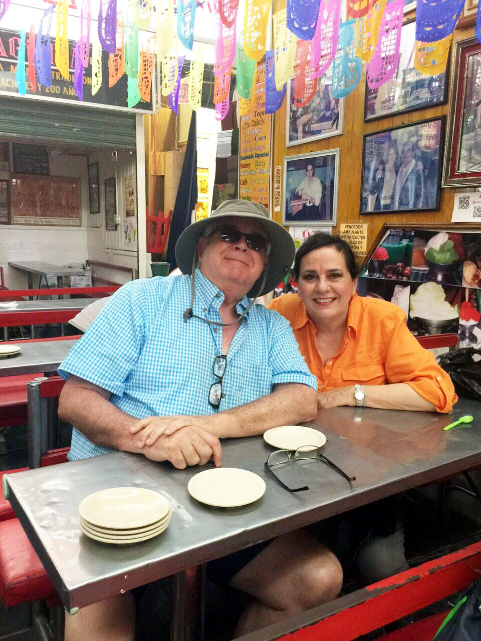 Luisa's parents Joaquin (l) and Luz Elena (r) enjoying the mercado in Oaxaca City.  (Photo Courtesy: mesachicparties.com)