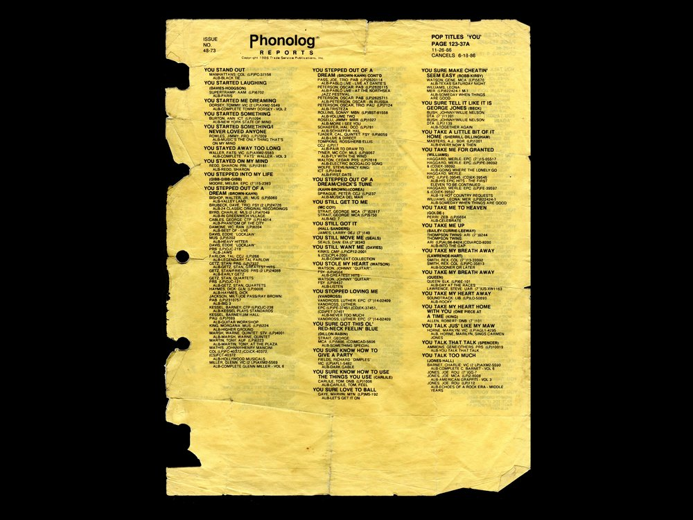 One side of the page from the phonolog which she tore out and still uses in her performances of  Pop Titles 'You'