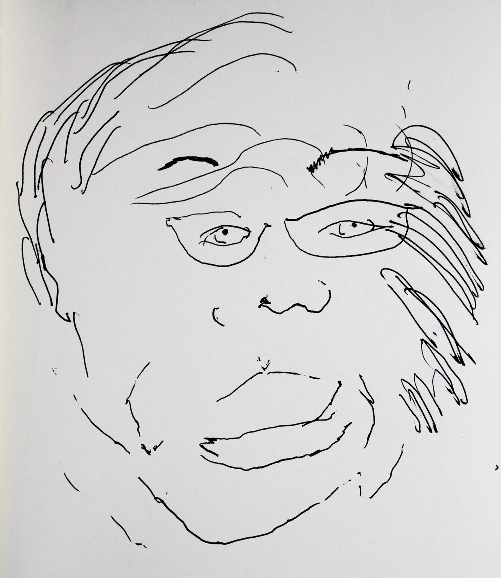 A blind contour drawing of Mari Kimura (made without looking at the page) by Elisabeth Blair, 12/2015.