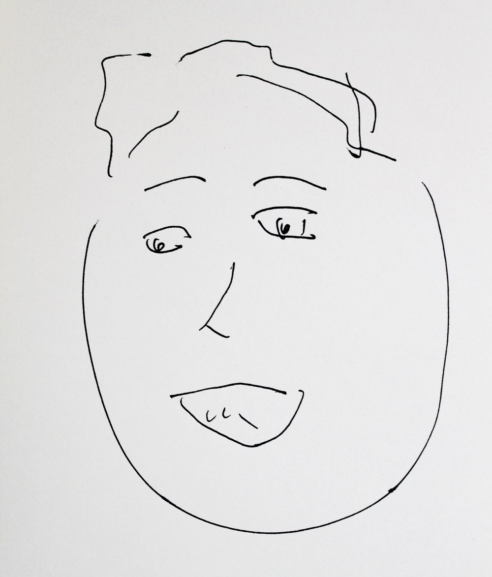 A blind contour drawing of Elisabeth Blair (made without looking at the page) by Mari Kimura, 12/2015.
