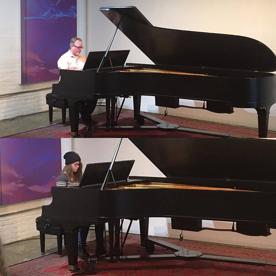 Dave Martin and his daughter performing at a piano recital.