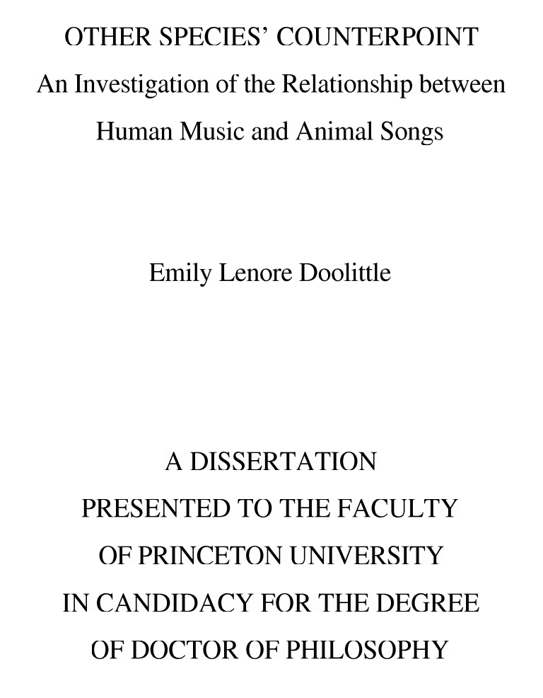 Emily Doolittle's dissertation, 2007