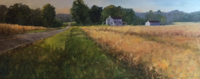"In September The Ohio Plein Air Society held their annual Paint Out in Alexandria, Ohio. My painting  ""The Road Home"" was selected after the competition to be shown in their show for two months at Sunbear Gallery.   In this plein air competition artists are given locations that the land owner has approved the painting on their property. We also had the option of just driving around until we found a spot that inspired us.  The event last three days with Friday and Saturday for painting and Sunday for the judging.  Friday i was driving around looking for a spot and was captured by this farm early in the morning.  This is a 15X30"" board and I think I liked the way using a long rectangle helped convey the acreage on which this small farm was sitting. The fields at that time of year were that wonderful golden color."