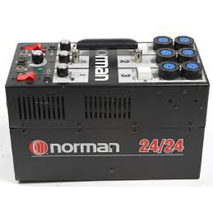 Norman 24/24 2400 Watt Power Pack 3 channels, 6 head outlets, Built-In light slave. Daily Rental Rate $25.00 Weekly Rental Rate $100.00