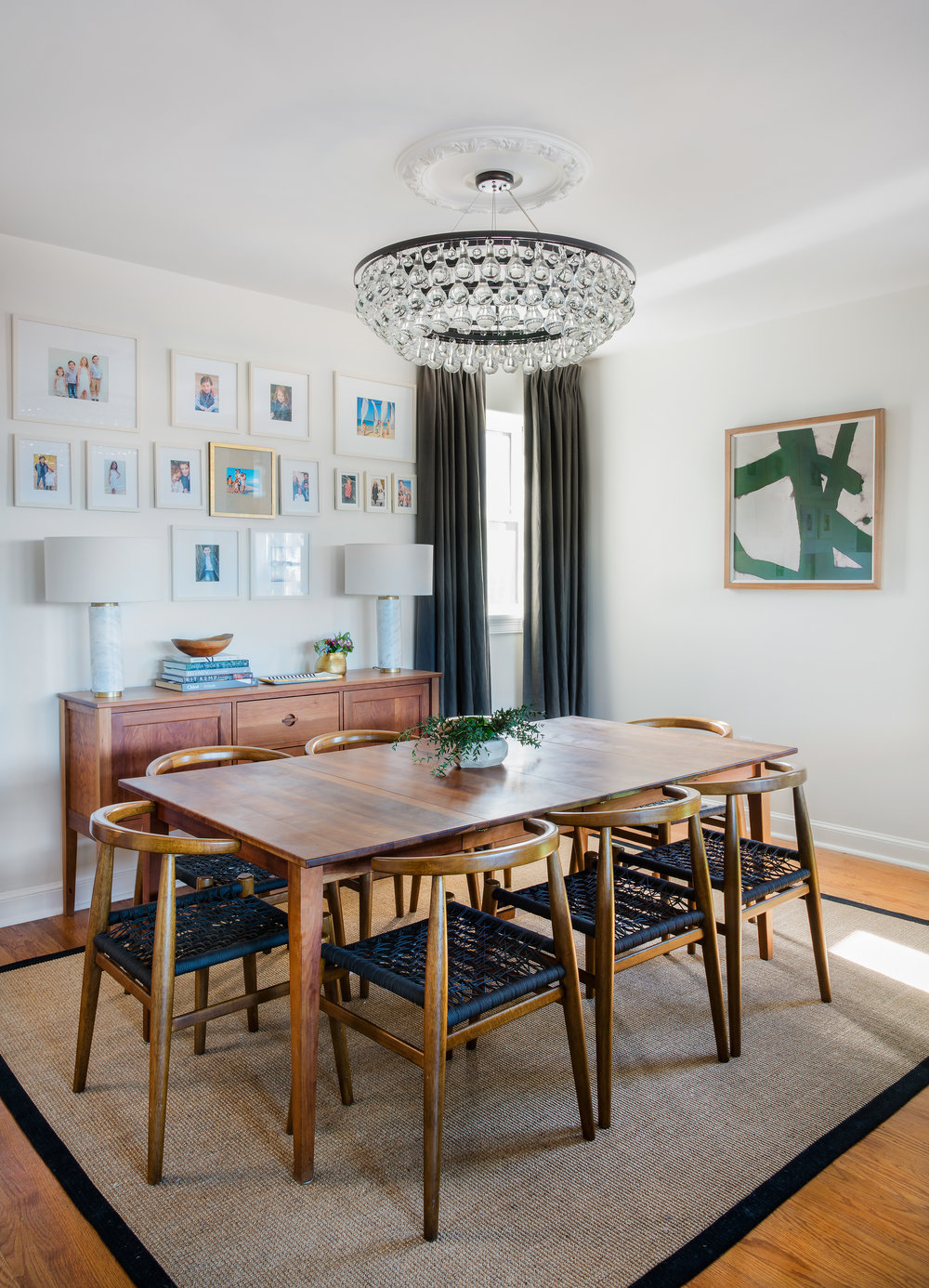 table ( similar here ) //  table lamps  //  rug //  dining chairs