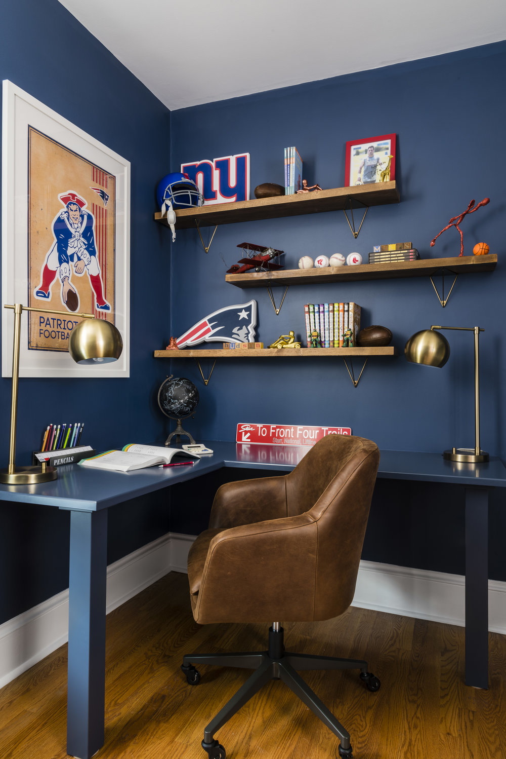 football  bookends  //  poster  //  pencil case  //  shelving  //  desk chair