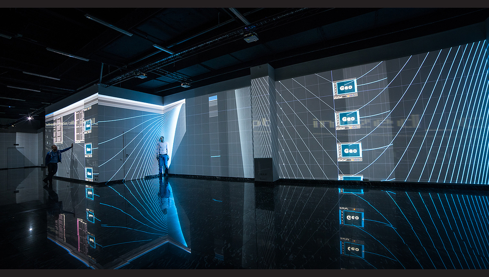 TouchDesigner UI mapped on the walls  source:    Front Pictures' Multimedia Renaissance