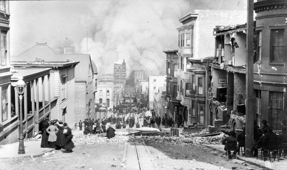1906 San Francisco Fire Sacramento Street; Photo from Arnold Genthe from the Library of Congress