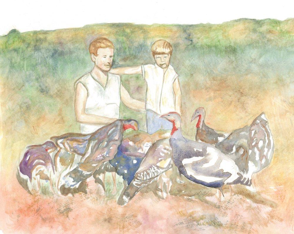 Violet and Doris with Turkeys