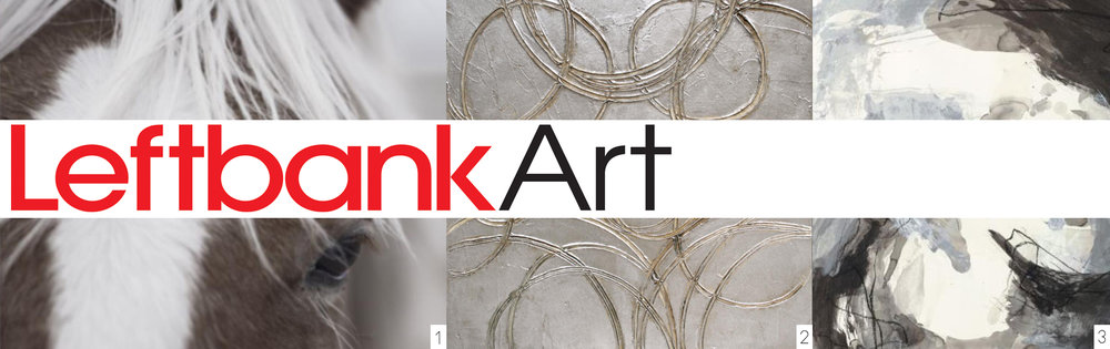 Source (left to right): 1) Left Bank Art, Good Friend, artist Chris Dunker; 2) Left Bank Art, Geo Duo II, artist Beverly Fuller; and 3) Left bank Art, Black Spiral II, artist Sara Brown.