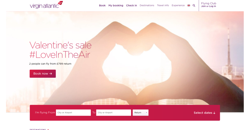Virgin Atlantic Valentine's sale #LoveInTheAir