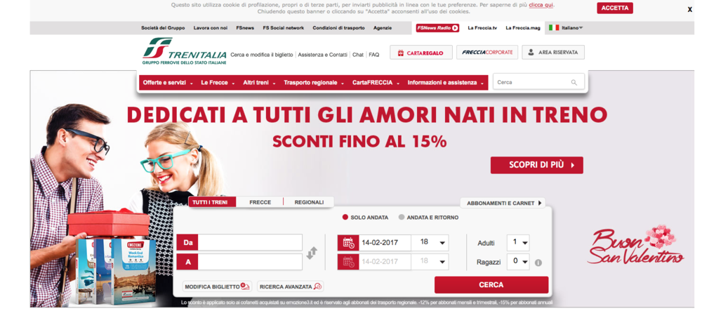 Trenitalia - discounts up to 15% for all lovers who met in the train