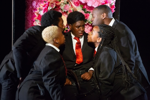 Roland Lane, Tanyamaria, Bryn Carter, Alana Raquel Bowers, and Michael Oloyede in SCRAPS at The Flea Theater, photo by Hunter Canning