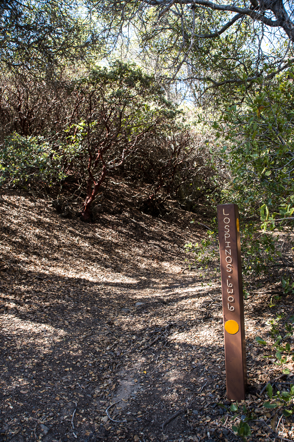 The trail marker after the blue fence