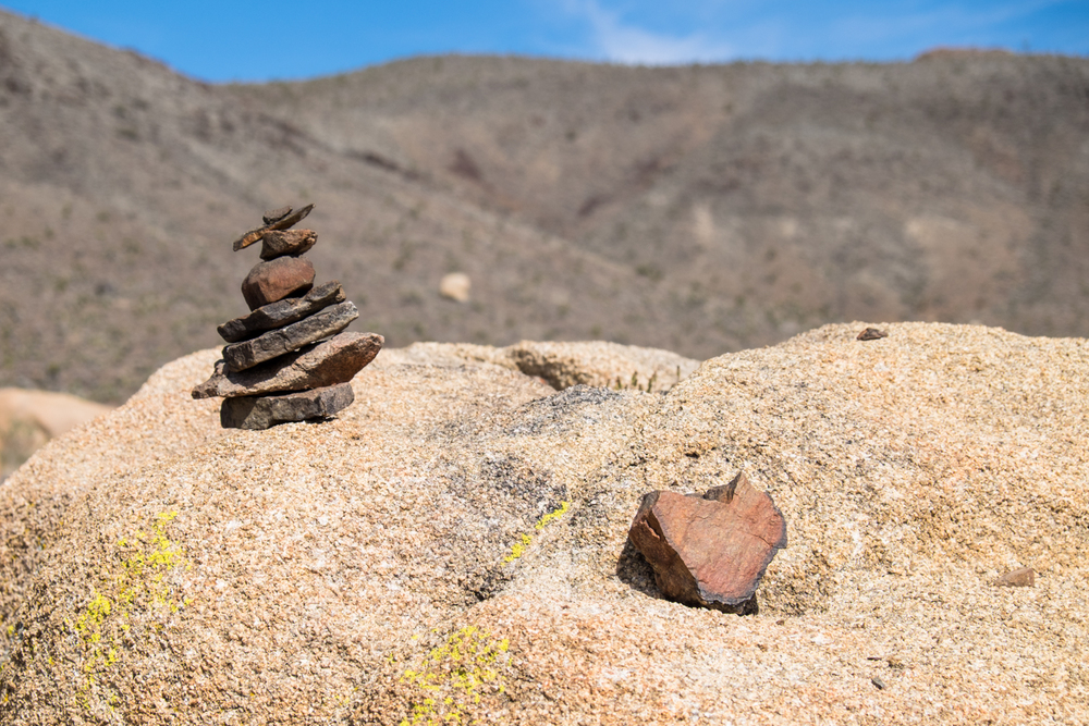 Our cairn and a heart rock, somewhere out in the desert.