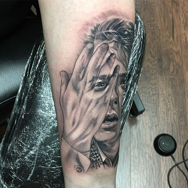Did this @realmikejfox as Marty Mcfly today, pretty stoked on how this came out! @electrumstencilproducts @electrumsupply #centralfloridatattooartist #orlandotattooartist #portrait #blackandgreytattoo #realism #tattoo #backtothefuture #martymcfly #whereweregoingwedontneedroads