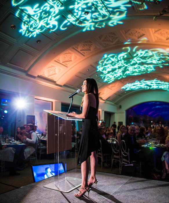 Leilani speaking at REVEL, a benefit for Rainforest Action Network at the California Academy of Arts and Sciences in San Francisco in 2014. Leilani has been a keynote speaker at over 125 events and has spoken at the United Nations in both Geneva, Switzerland and New York City.