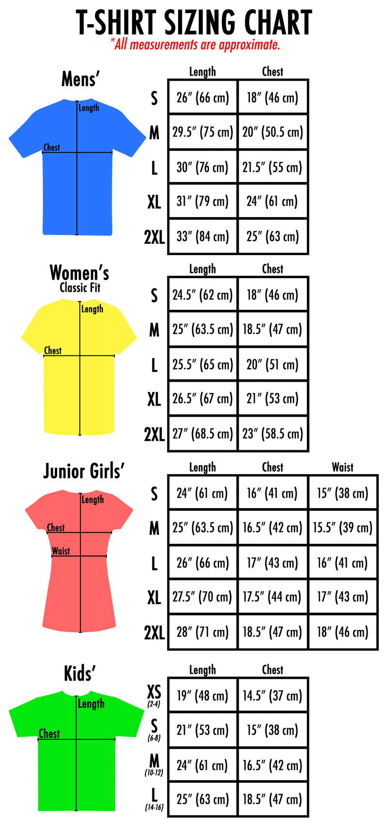 *Size estimates are based on Hanes Beefy T/Comfort Blend(Excluding Junior Girls). Depending on the style/design of the shirt, the sizes will differ. If you are unsure about sizing, please feel free to contact us.