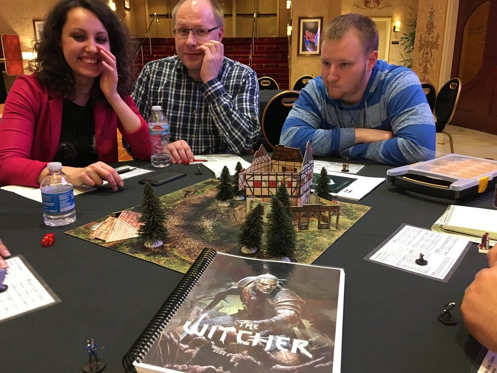 Playing another fun RPG demo, The Withcher with new friends. This is set to launch at Gen-Con 2018 by  R. Talsorian Games