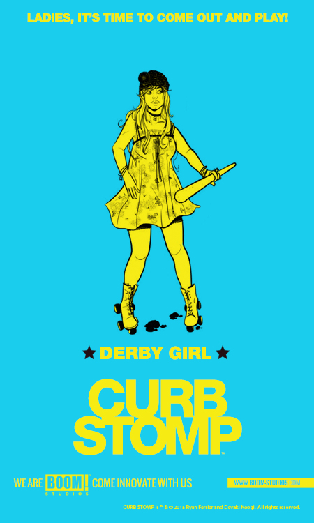 "Curb Stomp announced for February    by Jeremy Wetzel  @WetzelGeek     BOOM! Studios recently announced a new series from Ryan Ferrier (@rferrier) and Devaki Neogi called Curb Stomp. The four issue series is planned for release in February. The story takes place in a city ruled by gangs, and follows five women who make up one of those gangs named ""the Fever."" The gang is pushed into a war by an act of violence while protecting their turf.     The series writer, Ryan Ferrier is known for his comic D4VE by Monkeybrain. Ryan also has an upcoming co-written Feral NYC / Tiger Lawyer mush-up feature with our own Chris Pyrate in December's issue of Shutter issue #7. Debaki Neogi who is the artist on Curb Stomp has previously given us amazing illustrations in Mumbai Confidential.  For more teaser images for Curb Stomp check out these other website.    Derby Girl - 13th Dimension   Violet Volt - The Mary Sue   Bloody Mary - Comic Vine   Daisy Chain - ComicBook.com"