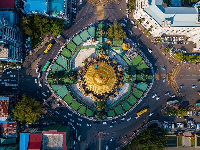 At the heart of Myanmar's capital city, the 2600 year old Sule Pagoda serves as a centerpiece of a congested Burmese roundabout.