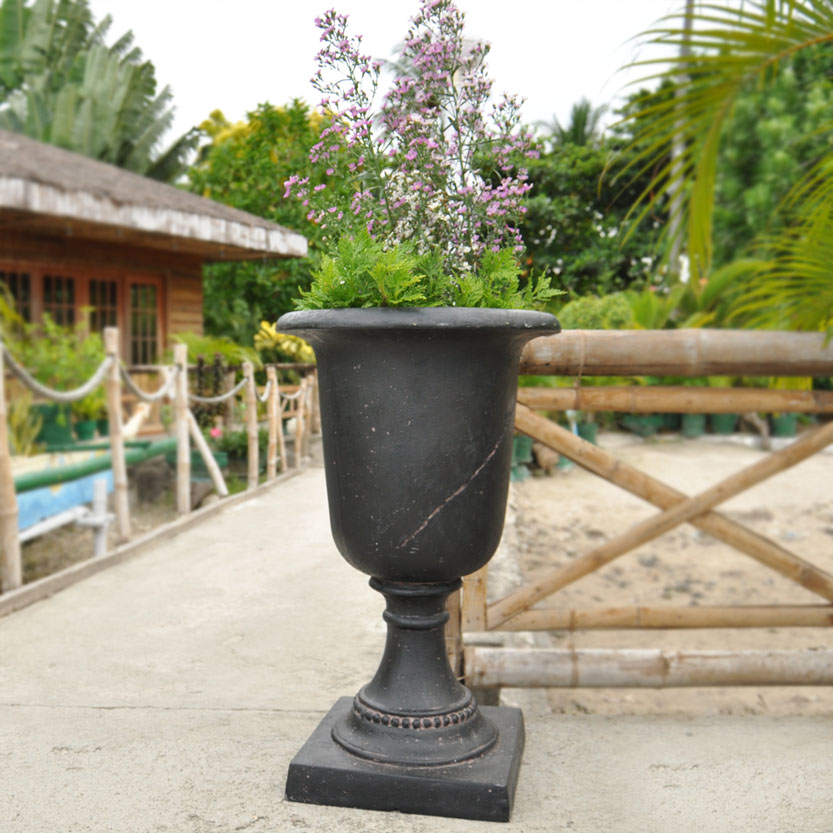 Cast Stone Italian Urn in Aged Charcoal