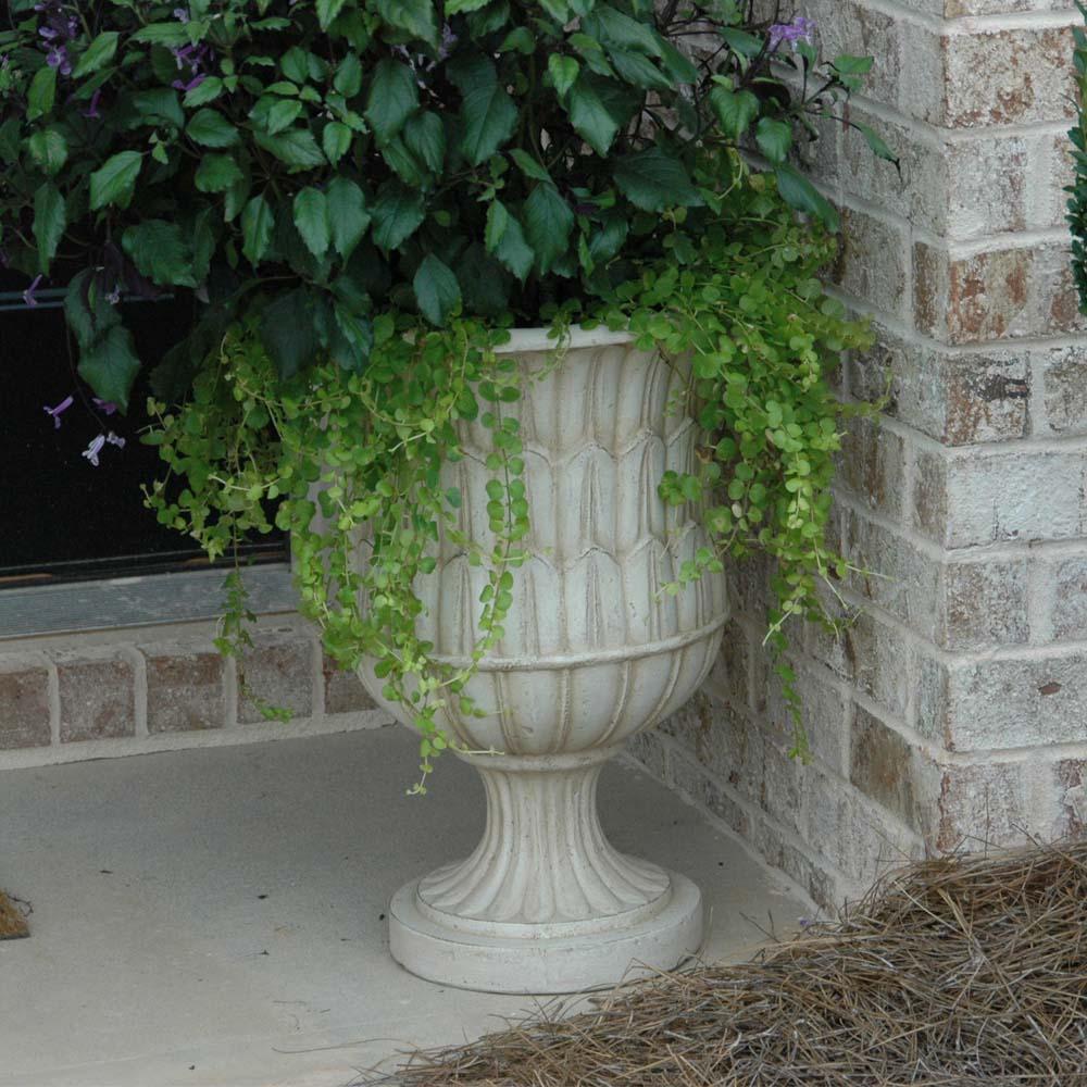 Cast Stone Sharp Leaf Urn in Aged White