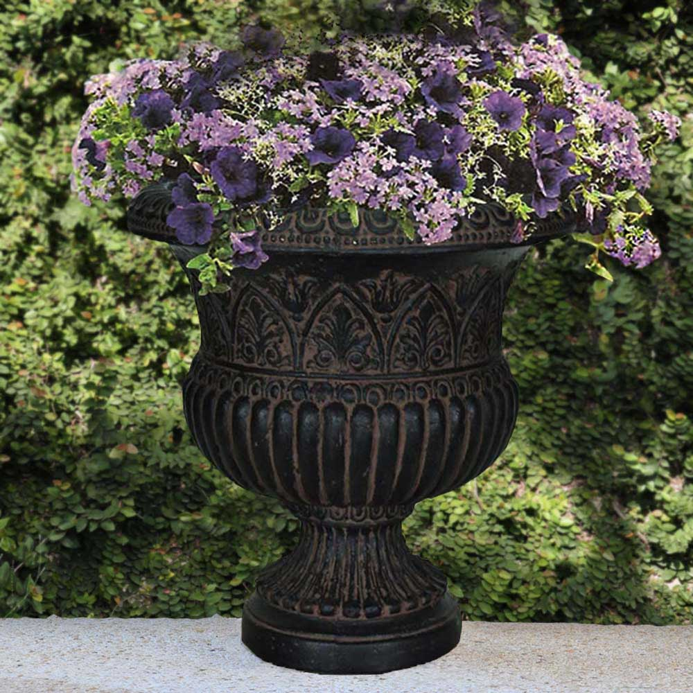 Cast Stone Faux Iron Urn in Aged Charcoal