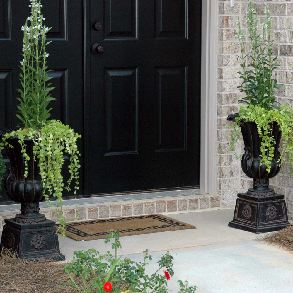 Cast Stone Urn on Pedestal in Aged Charcoal
