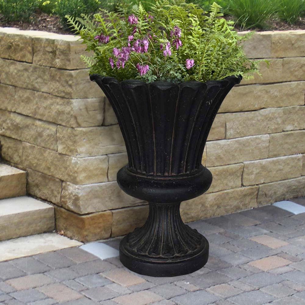Cast Stone Long Leaf Urn in Aged Charcoal