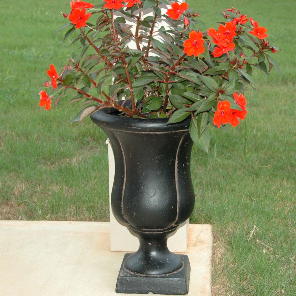 Cast Stone Sol Urn on Square Base in Aged Charcoal