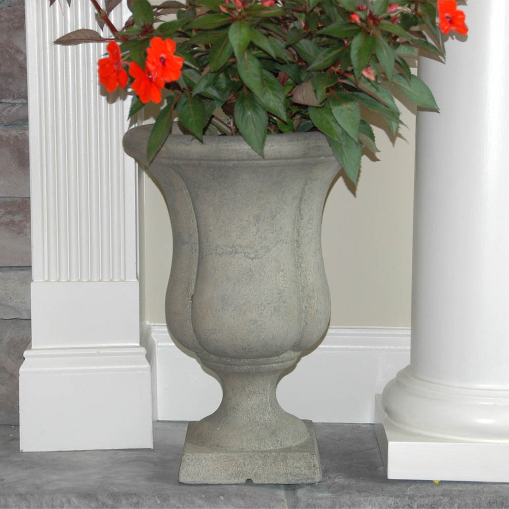 Cast Stone Liam Urn on Square Base in Aged Granite