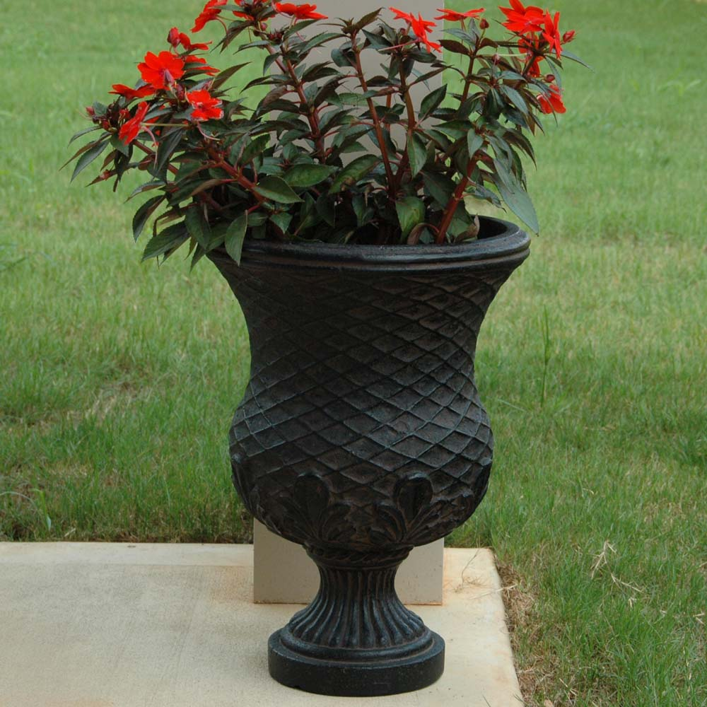Cast Stone Yorvit Urn in Aged Charcoal