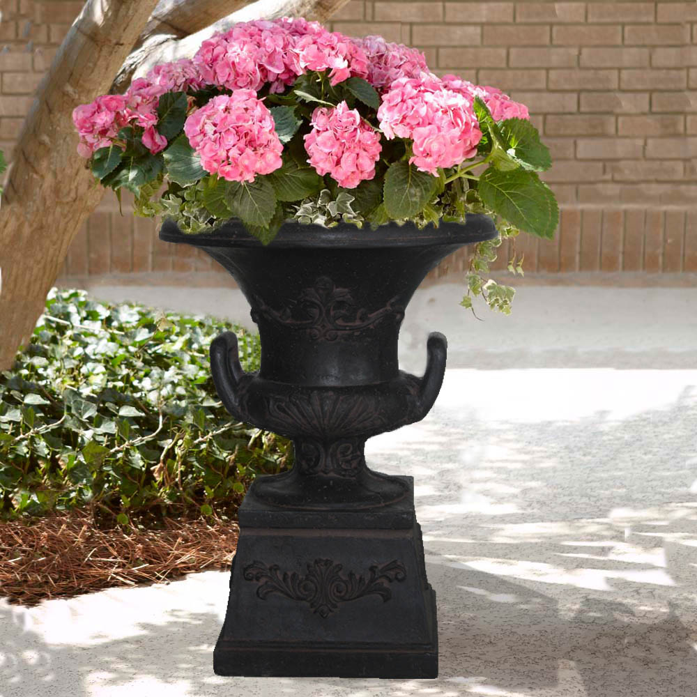 Cast Stone Pedestal Urn with Handles in Aged Charcoal