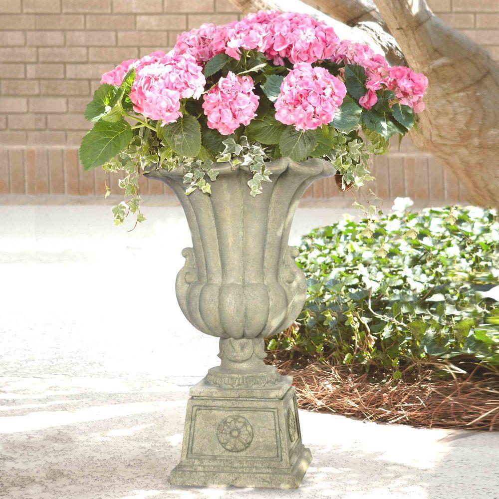 Cast Stone Urn on Pedestal in Aged Granite