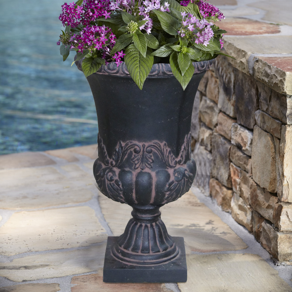 Cast Stone Sonnet Entrance Urn in Aged Charcoal