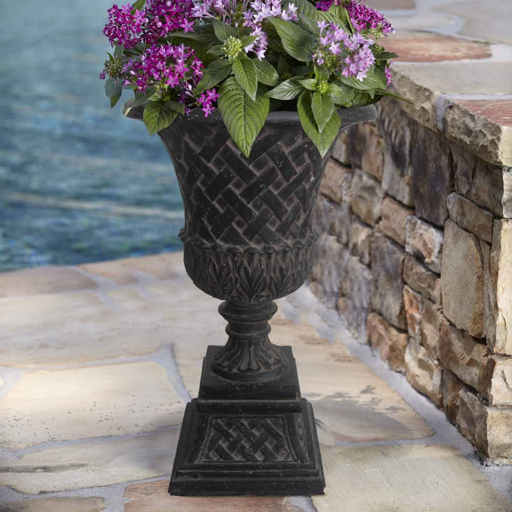 Cast Stone Lattice Urn and Pedestal in Aged Charcoal
