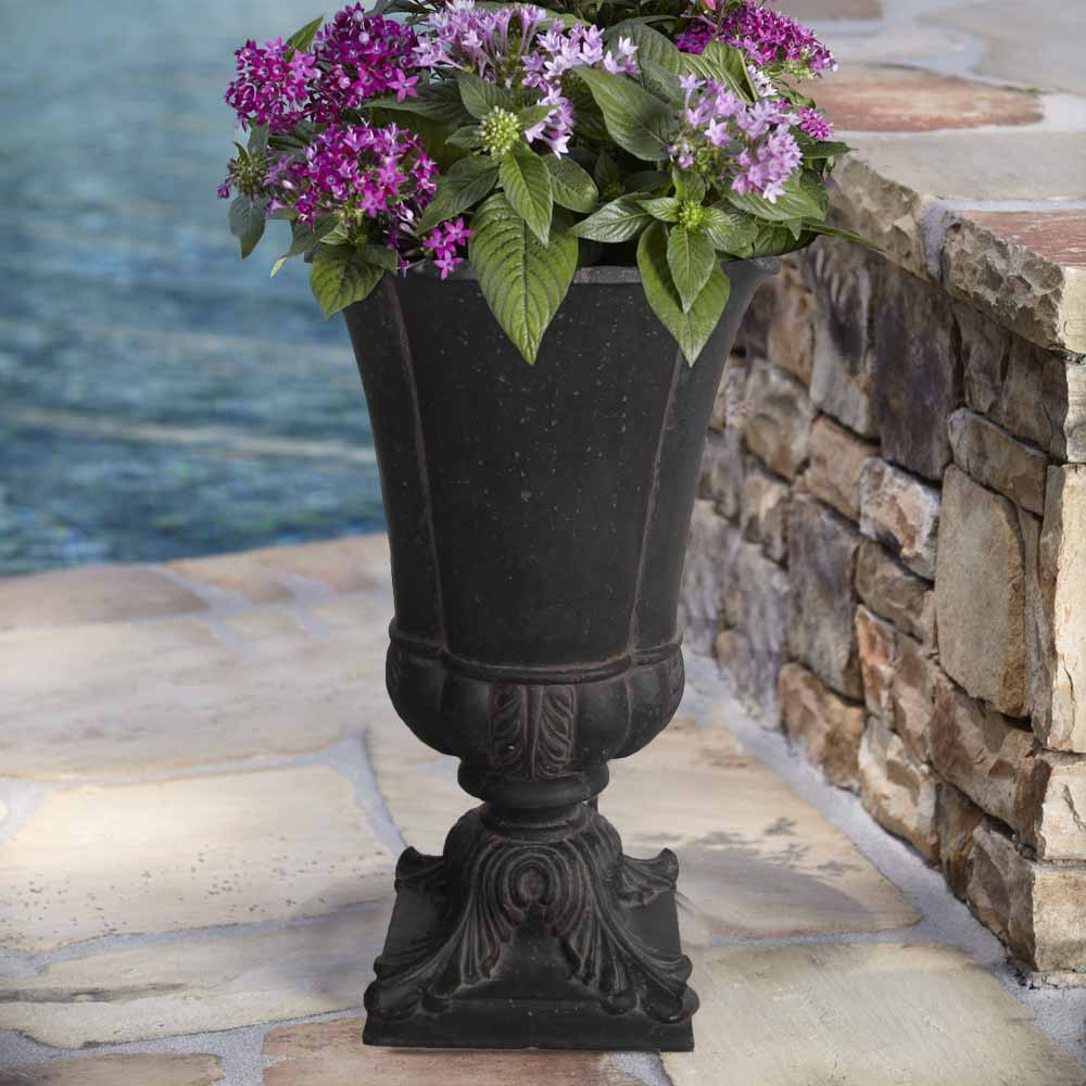 Cast Stone Parisian Entrance Urn in Aged Charcoal